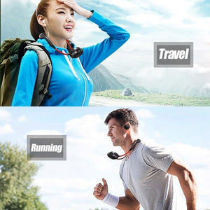 Portable Mini Fan Double Wind Heads Neckband Fan with USB Rechargeable for Traveling Outdoor Sports