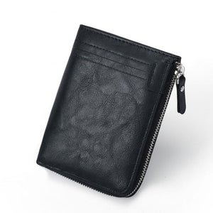 RFID Protection PU Leather Wallets for Men With Zipper Coin Purse Card Holder Casual Cash Wallet