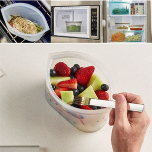 3Pcs Reusable Silicone Food Storage Bags Zip Top Leakproof Containers