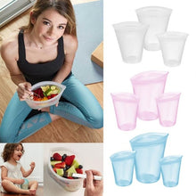 Load image into Gallery viewer, 3Pcs Reusable Silicone Food Storage Bags Zip Top Leakproof Containers