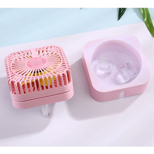Portable Mini Usb Rechargeable Humidifying Spray Fan for Small Desks and Household Fans