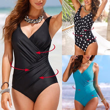 Load image into Gallery viewer, Womens Sexy Summer Push Up Plus Size Dot Plunge One-Piece Swimsuit Bikini