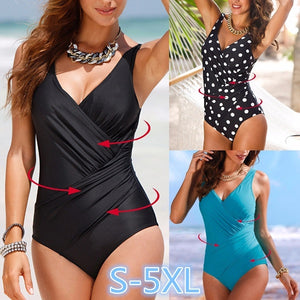 Womens Sexy Summer Push Up Plus Size Dot Plunge One-Piece Swimsuit Bikini