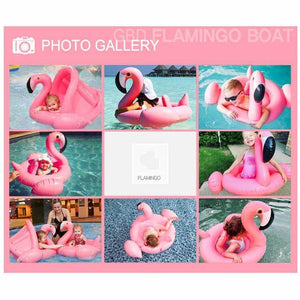 Flamingo Baby Float with Canopy Swimming Floats for Kids Pool Party Supplies Swimming Ring Baby Accessories