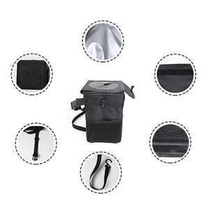 Car Trash Can with Lid and Storage Pockets Foldable Waterproof Waste Cans Fruit Tank