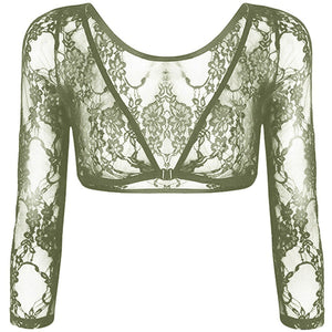 Seamless Arm Shaper Sleevey Wonders Women's Lace V-neck Perspective Cardigan