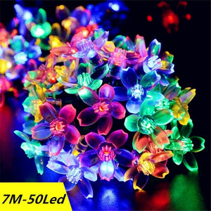 7M Solar LED String Lights Outdoor Waterproof Sakura Flower Fairy Light