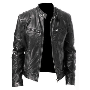 Men Vintage Cool Motorcycle Jacket Leather Long Sleeve Autumn Winter Coat