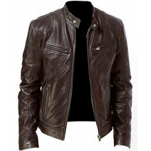 Load image into Gallery viewer, Men Vintage Cool Motorcycle Jacket Leather Long Sleeve Autumn Winter Coat