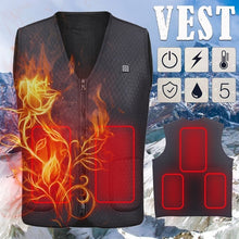Load image into Gallery viewer, Unisex Black Intelligent Winter Electric Heating USB Sleeveless Vest Temperature Control