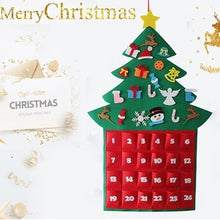 Load image into Gallery viewer, Christmas Tree Felt Advent Calendar Countdown to Christmas Homemade Advent Calendar Party Decoration