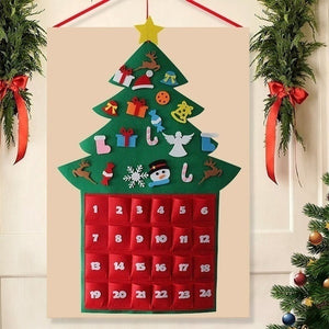 Christmas Tree Felt Advent Calendar Countdown to Christmas Homemade Advent Calendar Party Decoration
