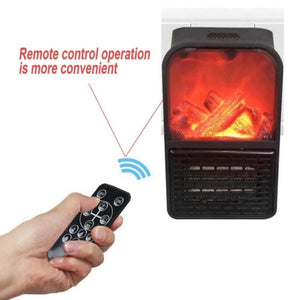 Mini Flame Heater Fan Electric Remote Control Fireplace Timer Space For Home/Office/Travel
