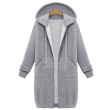 Load image into Gallery viewer, Women Hoodie Long Sleeve Hoodie Sweatshirts Coat Casual Pockets Zipper Solid Tops