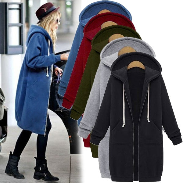 Women Hoodie Long Sleeve Hoodie Sweatshirts Coat Casual Pockets Zipper Solid Tops