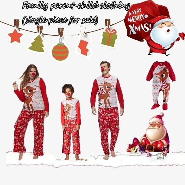 Christmas Red Family Children Adult Clothes Cartoon Elk Print Parent-child Suit