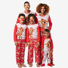 Load image into Gallery viewer, Christmas Red Family Children Adult Clothes Cartoon Elk Print Parent-child Suit