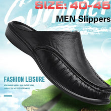 Load image into Gallery viewer, Men's Fashion Non-slip Leather Slippers Casual Slippers Outdoor Shoes