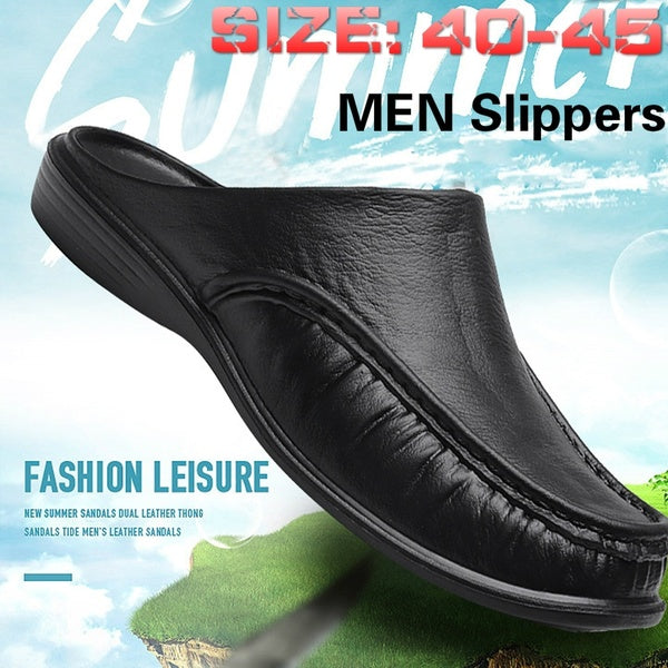 Men's Fashion Non-slip Leather Slippers Casual Slippers Outdoor Shoes