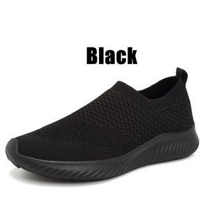 Solid Color Lightweight Breathable Flat Slip-on Running Shoes