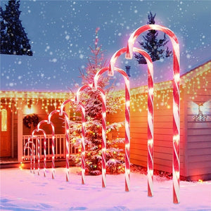 6 Pcs Christmas Light Pathway Candy Cane Walkway Light Usb Powered Street Lamp
