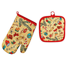 Load image into Gallery viewer, 2 Pcs/Set Christmas Baking Anti-Hot Gloves Oven Dining BBQ Kitchen Mat