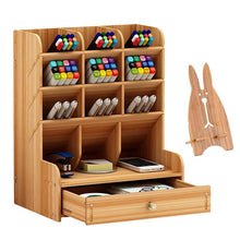 Load image into Gallery viewer, Multi-Functional DIY Pen Holder Box Desktop Stationary Wooden Desk Organizer