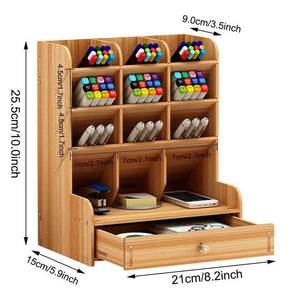Multi-Functional DIY Pen Holder Box Desktop Stationary Wooden Desk Organizer