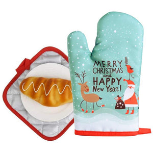 2 Pcs/Set Christmas Baking Anti-Hot Gloves Oven Dining BBQ Kitchen Mat