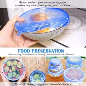 6pcs/set Reusable Silicone Stretch Lids Kitchen Food Wrap Bowl Storage Wraps Cover Various Size