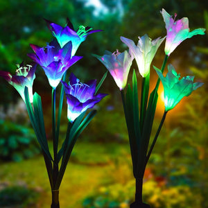 LED Solar Lily Flower Lights 2 Pack 8-Head 7 Color Changing Outdoor Garden Stake Lamps