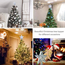 Load image into Gallery viewer, Christmas Tree Topper Lighted Star Tree Toppers with LED Rotating Snowflake Projector Lights