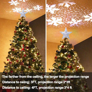 Christmas Tree Topper Lighted Star Tree Toppers with LED Rotating Snowflake Projector Lights
