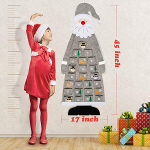 24 Days Pockets Xmas Countdown Calendar Decorations Wall Hanging Decoration