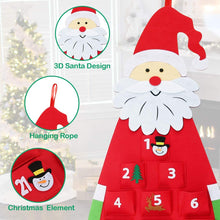 Load image into Gallery viewer, 24 Days Pockets Xmas Countdown Calendar Decorations Wall Hanging Decoration
