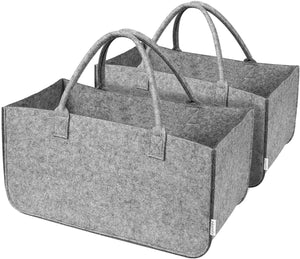 Firewood Basket Storage Felt Bag Wood Log Carrier Shopping Bag Magazine Rack Basket with Handle