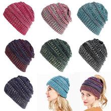 Load image into Gallery viewer, Women Winter Ponytail Hat Warm Soft Knit Cap