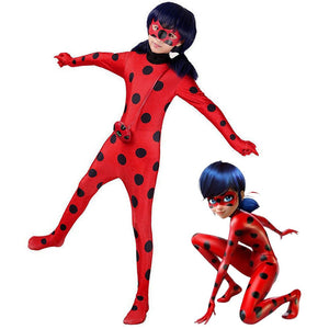 Girls Miraculous Ladybug Marinette Halloween Cosplay Costume jumpsuit Mask+Bag