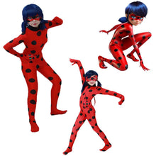Load image into Gallery viewer, Girls Miraculous Ladybug Marinette Halloween Cosplay Costume jumpsuit Mask+Bag