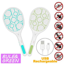 Load image into Gallery viewer, USB Rechargeable Electric Mosquito Swatter Insect Fly Bug Killer with LED Light
