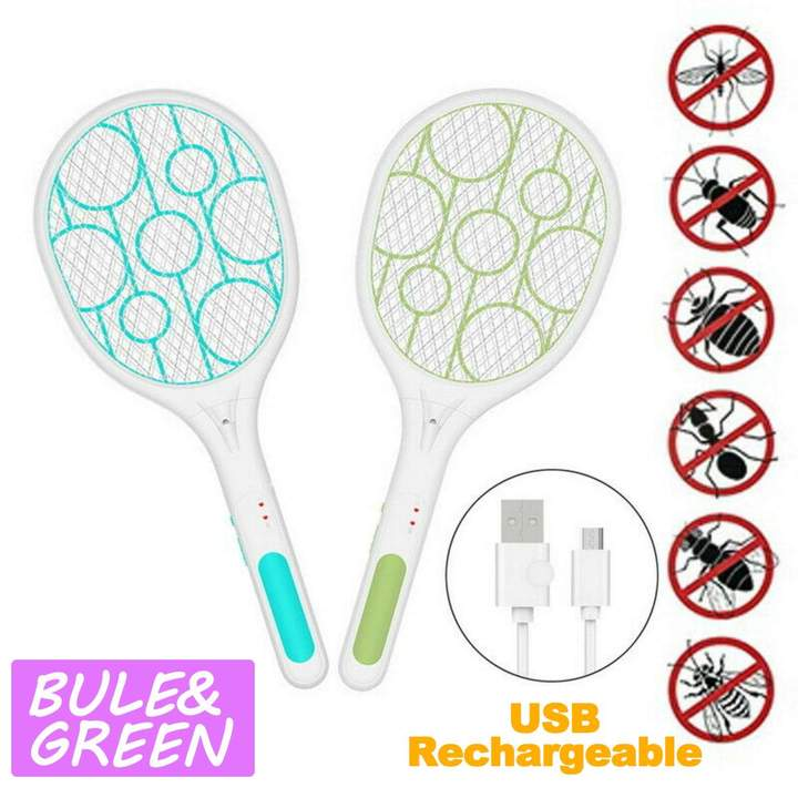 USB Rechargeable Electric Mosquito Swatter Insect Fly Bug Killer with LED Light