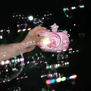 Children Blowing Bubble Toys With Music Light Automatic Bubble Camera Toy