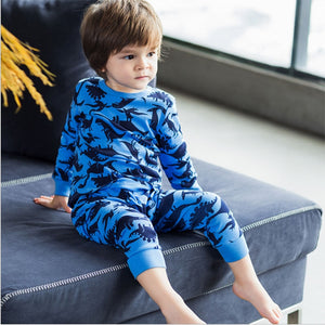 Winter Autumn Kids Thermal Underwear Thick dinosaur Cotton Children's Warm Suit