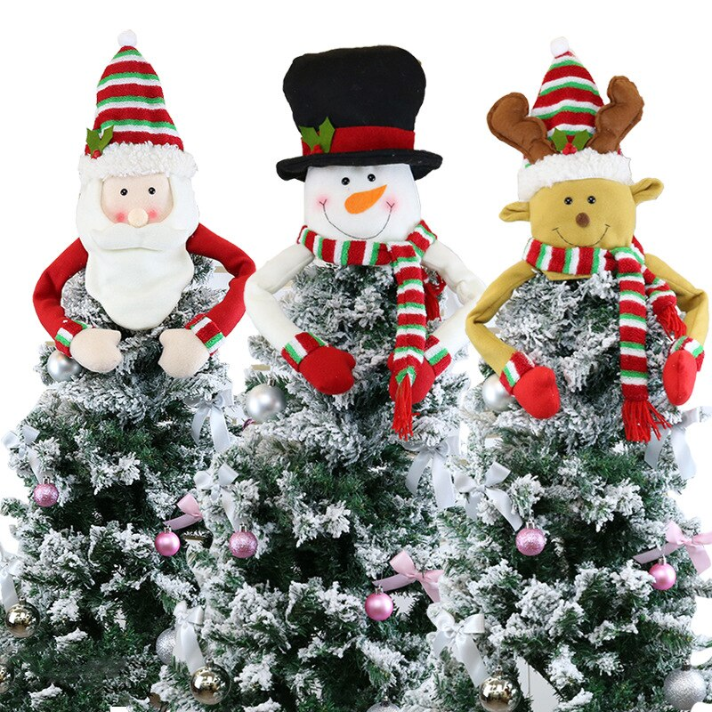Christmas Tree Top Star Snowman Decorations Felt Christmas Tree Hat Pendant Decorations
