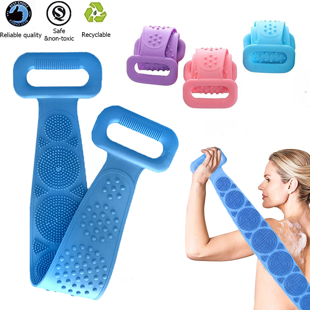Silicone Back Scrubber Body Exfoliating Massage For Shower Strap