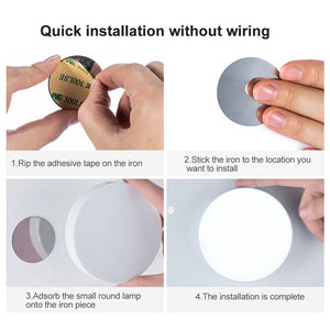 USB Rechargeable Wall Lamp 6 LEDs Wireless PIR Motion Sensor Night Light