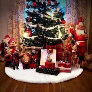 White Plush Christmas Tree Skirts Fur Carpet Merry Christmas Decoration