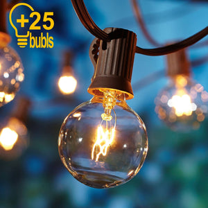 25Ft G40 Globe Bulb String Lights With 25 Clear Ball Vintage Bulbs Indoor/Outdoor Hanging Umbrella Patio String Lighting