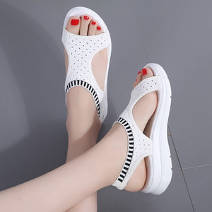 Woman Summer Wedge Comfortable Sandals Ladies Slip-on Flat Sandals