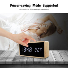Load image into Gallery viewer, Wooden Alarm Night Light Clock LED Display Mirror Temperature Digital Watch Electronic Watch